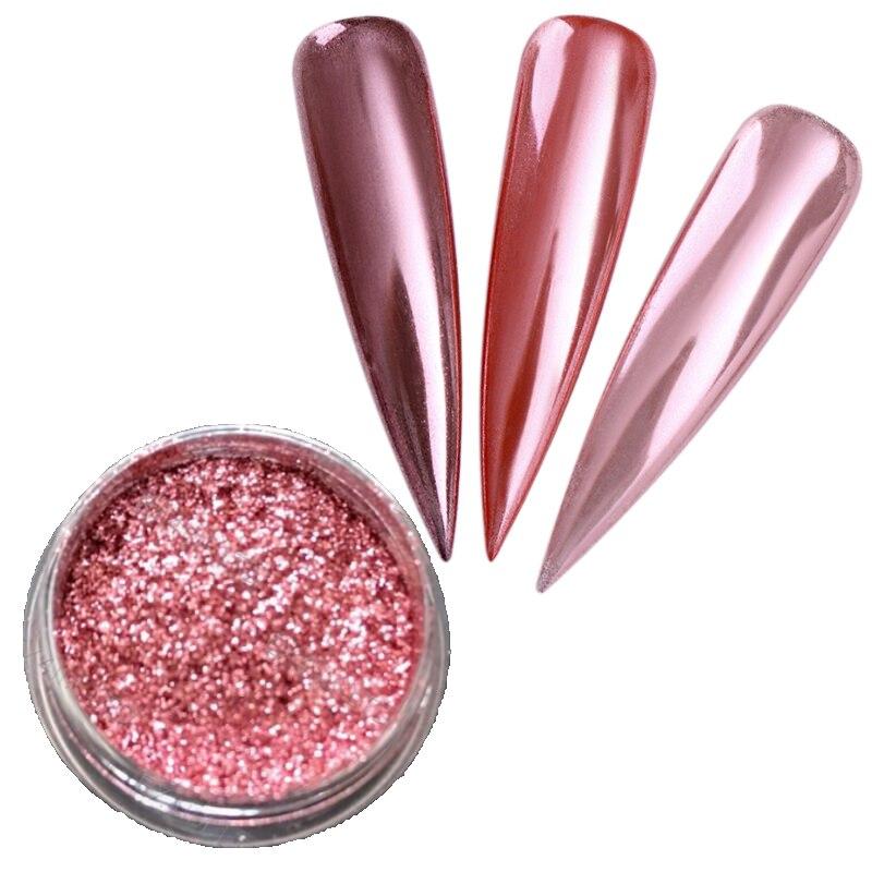 1 Box Rose Gold Mirror Nail Glitter Powder Gel Polish Chrome Pigment Dust Shinning Glitters Nail Art Decorations in Nail Glitter from Beauty Health