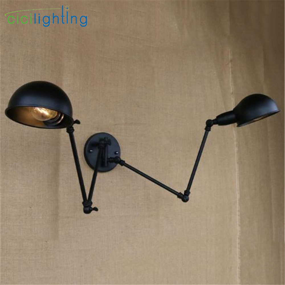 Rotating indoor wall lamp Office swing Rock wall sconce 2 head ... for Indoor Street Light Lamp  76uhy
