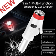 9 in 1 Car Charger Safety Hammer Quick USB Charger