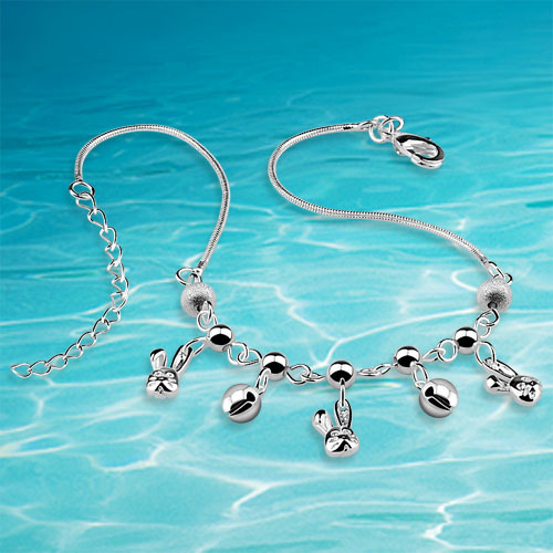 Korean version of the cute little bunny female fashion 925 sterling silver anklet