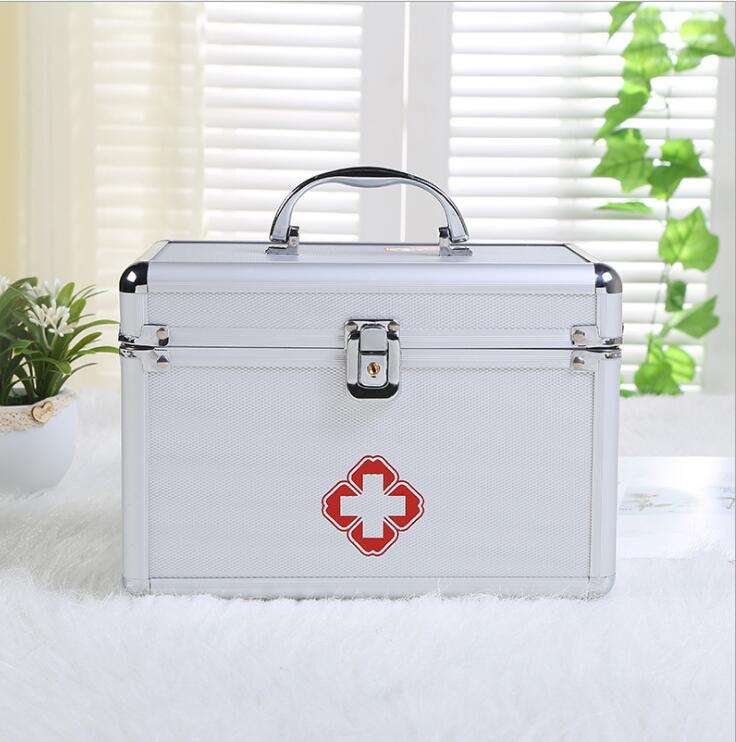 Aluminum alloy medical box -VS-- portable double-layer portable first-aid kit for customized medicine box new gbj free shipping home aluminum medical cabinet multi layer medical treatment first aid kit medicine storage portable