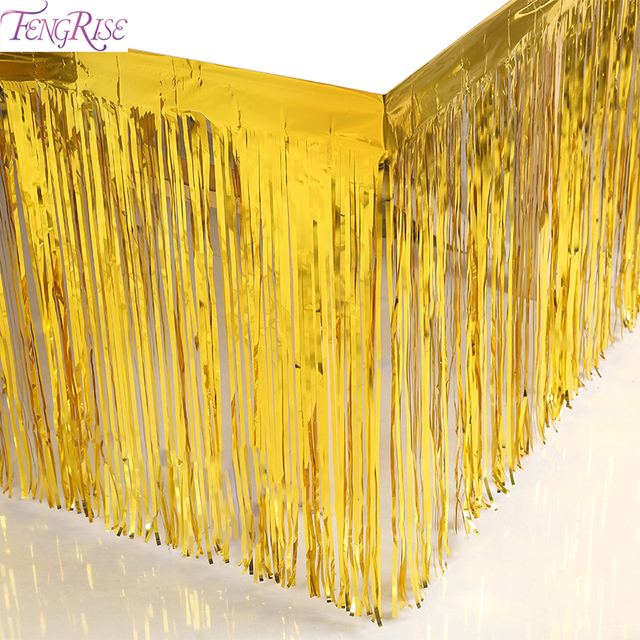 Fengrise Gold Foil Fringe Tinsel Curtain Metalic Tel Grlands Table Skirt Wedding Decoration Christmas Backdrop Party Decor