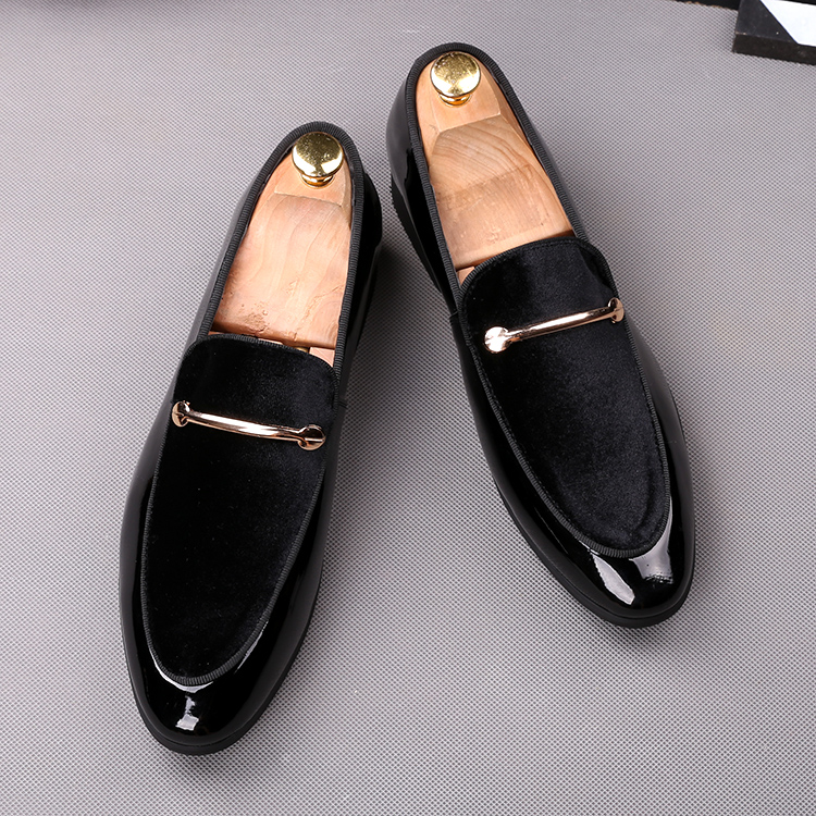 2018 men slip on formal shoes soft leather +black blue cotton Oxfords Dress wedding wingtip Brish style Loafers shoes 45