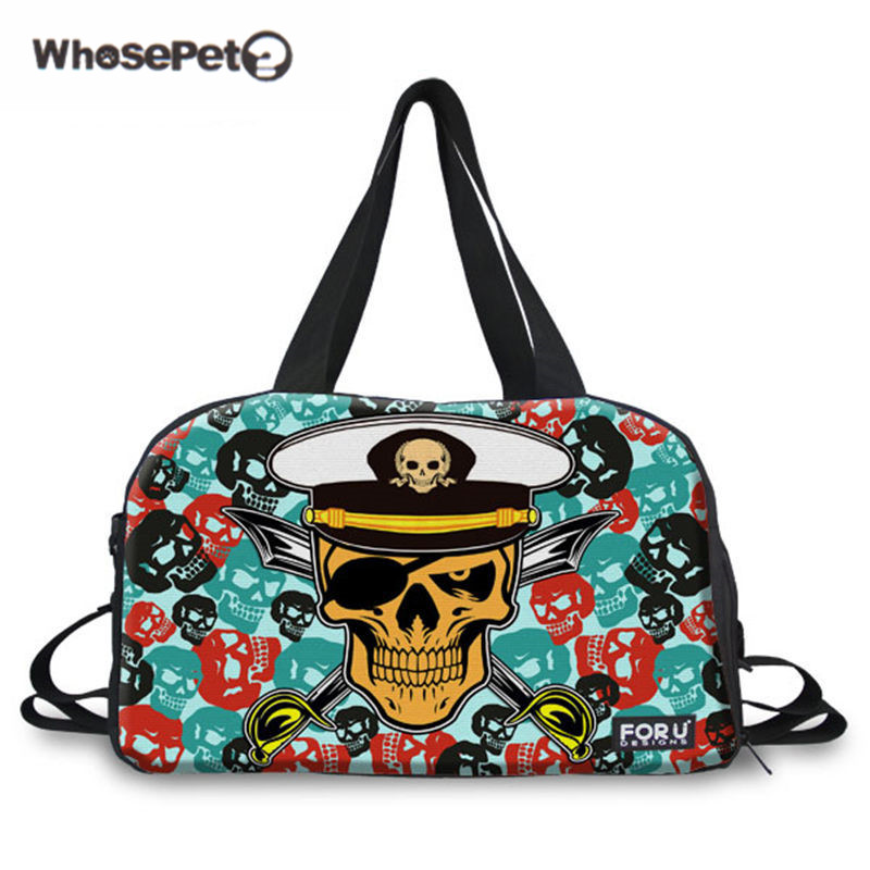 Halloween 3D Punk Travel Bag Skull Head Print Casual duffel Canvas Shoulder Bags Navy Shoulder Men Hand Carry Luggage WHOSEPET 3d skeleton skull print halloween hoodie