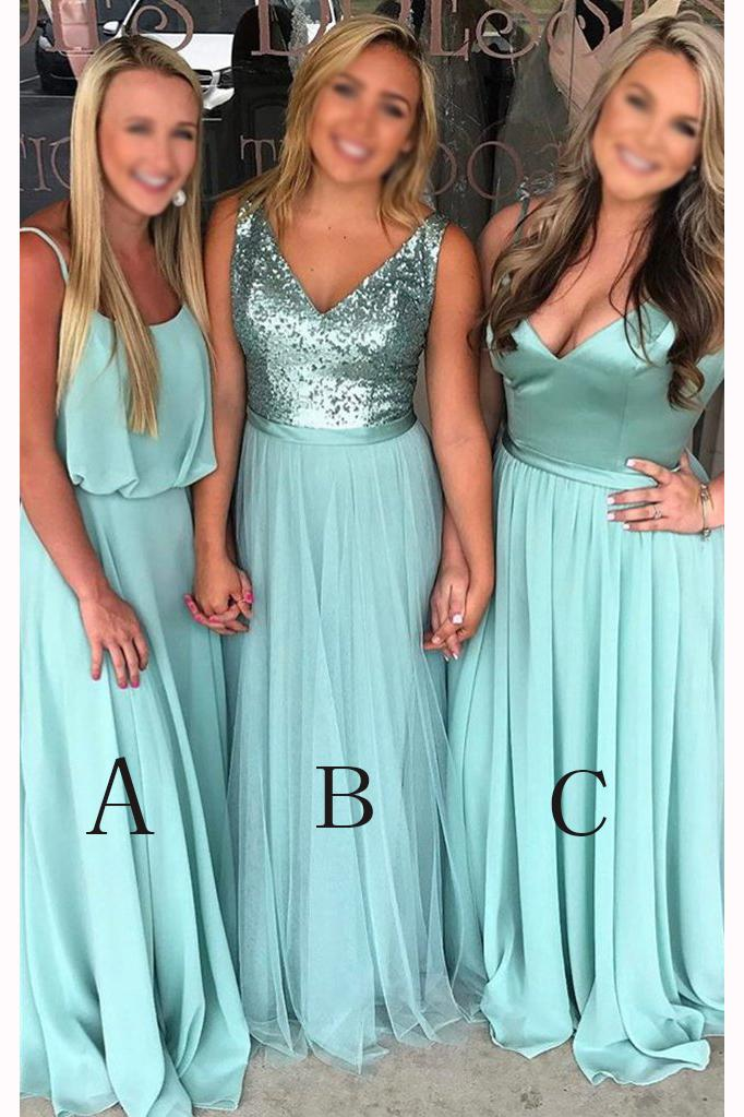 Turquoise A-line Floor-length V-neck Sleeveless   Bridesmaid     Dress   Waterfall Party Gown