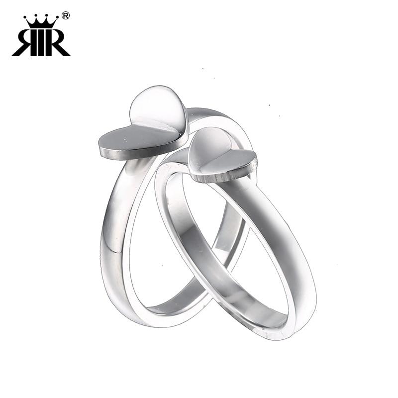 RIR 1 шт. Нержавеющаясталь Flying Heart обручальное кольцо любовник навсегда обещание Серебряные кольца