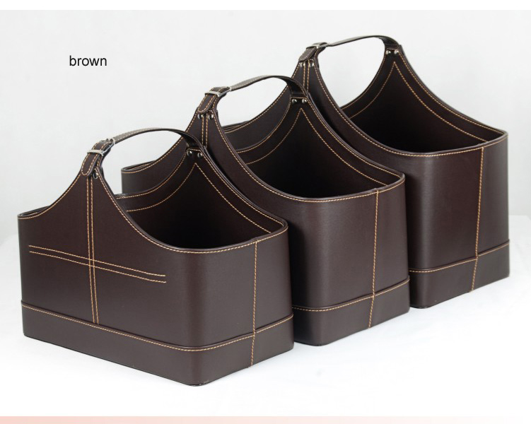 3PCS/set with lift-handle pu leather home storage basket gift baskets storage box wicker picnic basket