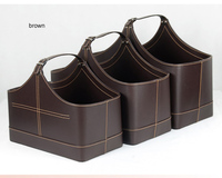 3PCS/set with lift handle pu leather home storage basket gift baskets storage box wicker picnic basket