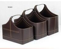 3PCS/set with lift handle pu leather home storage basket gift baskets storage box wicker picnic basket