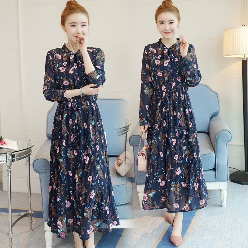 New Spring Autumn Women Dresses Plus Size Fashion Stand Collar Bow MD-Long Slim Print Pleated Chiffon Dress For Women One-Piece
