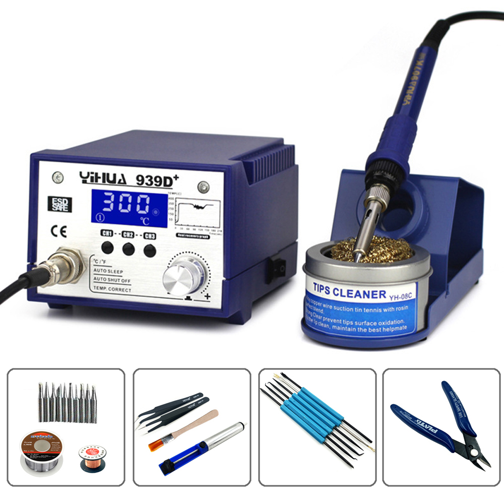YIHUA 939D+ AntiStatic Adjustable Thermostat Lead-free Smart High Power Electric Soldering Iron Rework Soldering Station цена