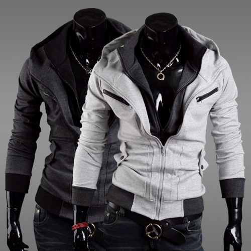 New fashion Assassin's Creed 3 Desmond Miles Hoodie Jacket Costume Cosplay Hoody Coat Black Dark Gay Light Gray