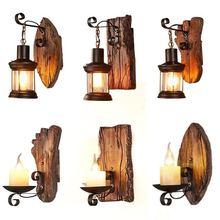 Lámpara de pared de madera creativa Industrial Retro Americana para el hogar