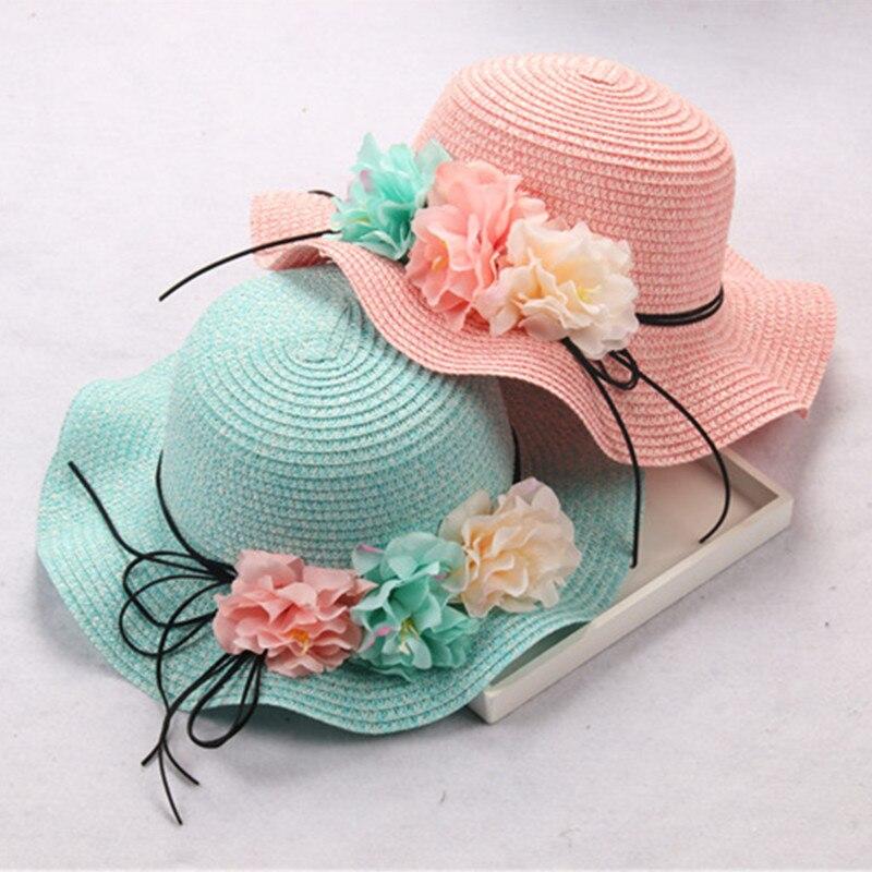 Baby Sun Hat Child Wide Brim Flowers Bowknot Hat  Beach Straw Parenting Hat Girls Panama Caps