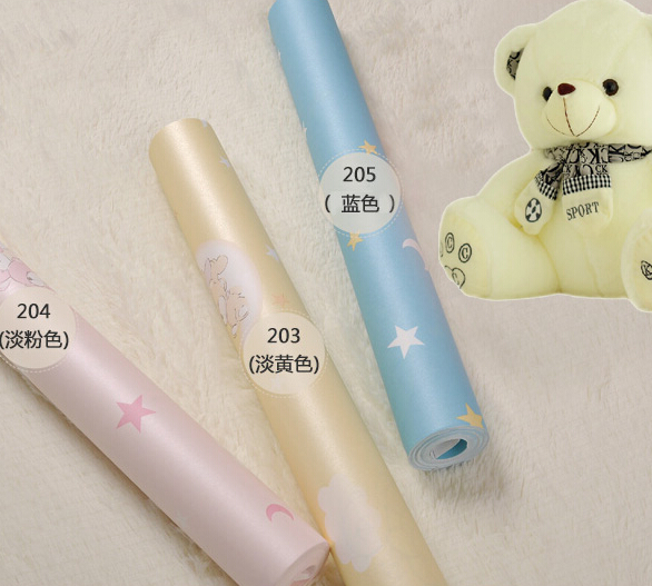 new 2016 hot selling cartoon sleeping bear children baby room non-woven wallpaper sitting room bedroom wall paper boy princess