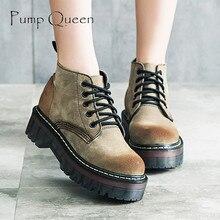 2016 Autumn Suede Pigskin Shoes Women Ankle Boots Fashion Lacing Female Boots Flat Heel Martin Boots Women's Platform Shoes