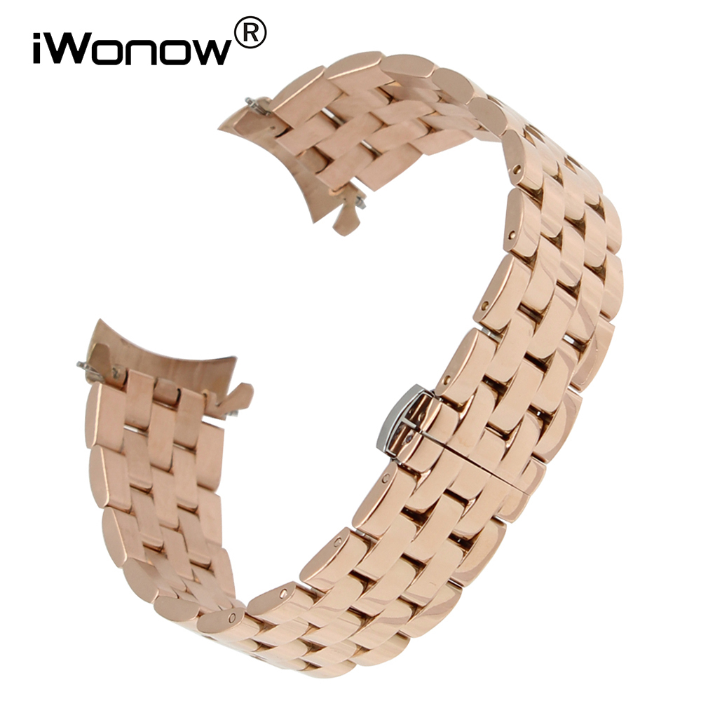 Curved End Stainless Steel Watchband 18 20 22 24 for Seiko Citizen Casio Watch Band Butterfly Buckle Strap Wrist Belt Bracelet
