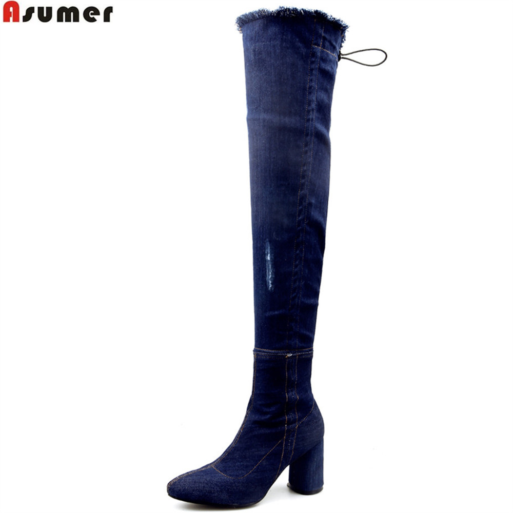 ASUMER 2018 fashion new arrive women shoes round toe zipper denim ladies boots thick heel blue sexy over the knee boots big size luxury good quality new fashion women zipper jumpsuit slim fit skinny jeans rompers pocket denim jumpsuits size sexy girl casual