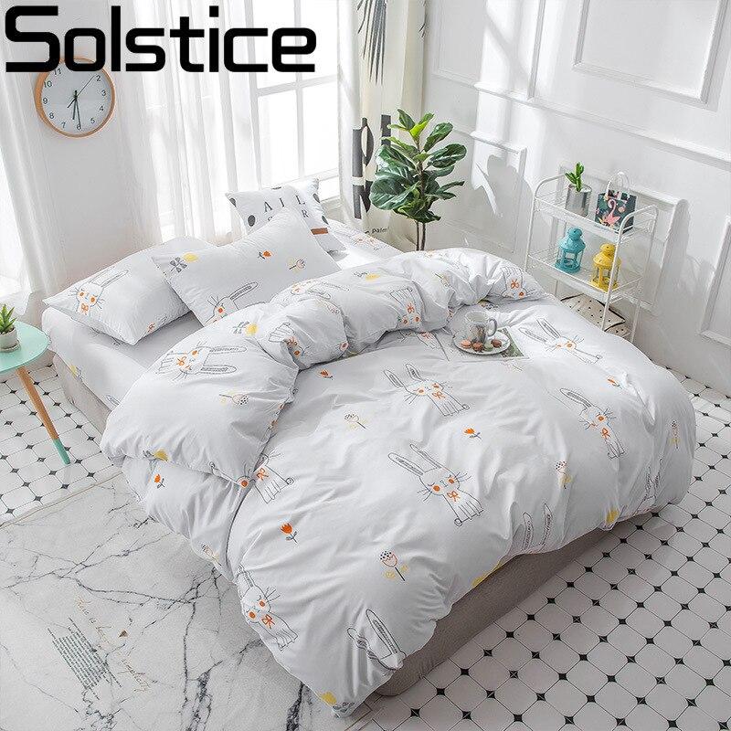 Solstice Home Textile King Queen Full Twin Duvet Cover Set Pillowcase Bed Sheet Boy Girl Kid Teen Bedding Linen Sets Cartoon Cat