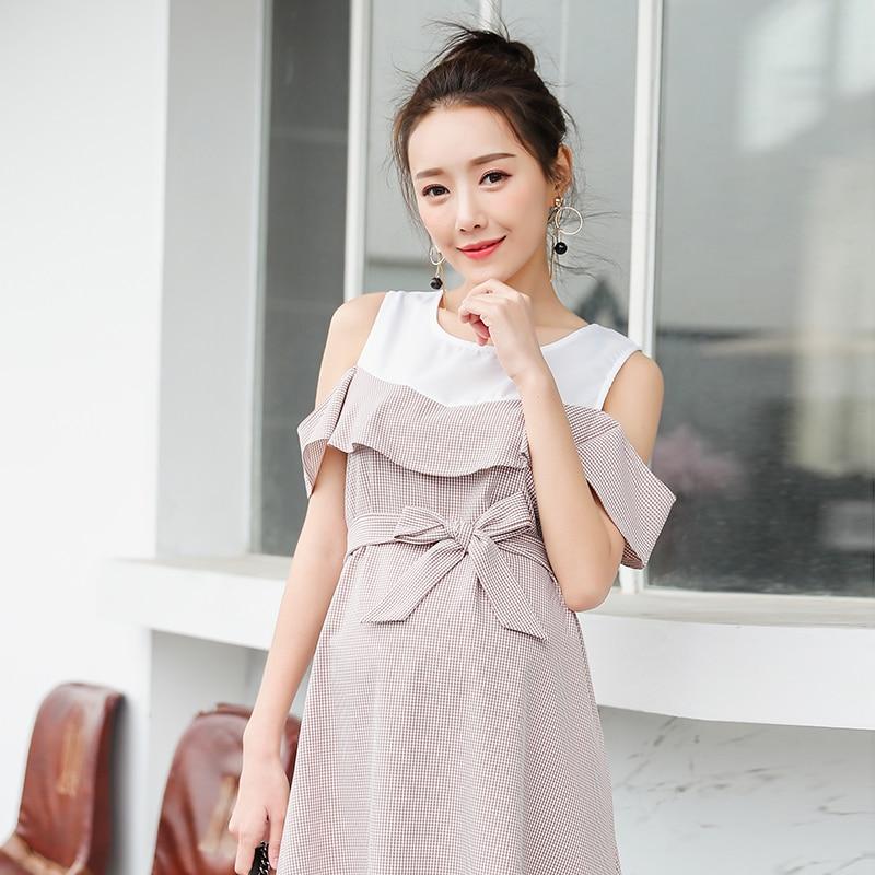 Stylish Ruffle Strapless Ties Waist Maternity Dress 2018 Summer Korean Fashion Clothes for Pregnant Women Pregnancy Wear 6