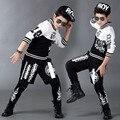 Terno dos Esportes Menino infantil Casuais Agasalho Crianças Dancewear Hip Hop Meninos Roupas de Verão Cool Fashion Preto de Marca Branca 2016 nova