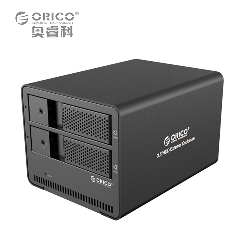 ORICO 9528U3-BK 2-bay USB3.0 Aluminum External SATA 3.5 Inch HDD Enclosure Support Tool free/Hot-swap/Intelligent sleep orico 9528u3 2 bay usb3 0 sata hdd hard drive disk enclosure 5gbps superspeed aluminum 3 5 case external box tool free storage