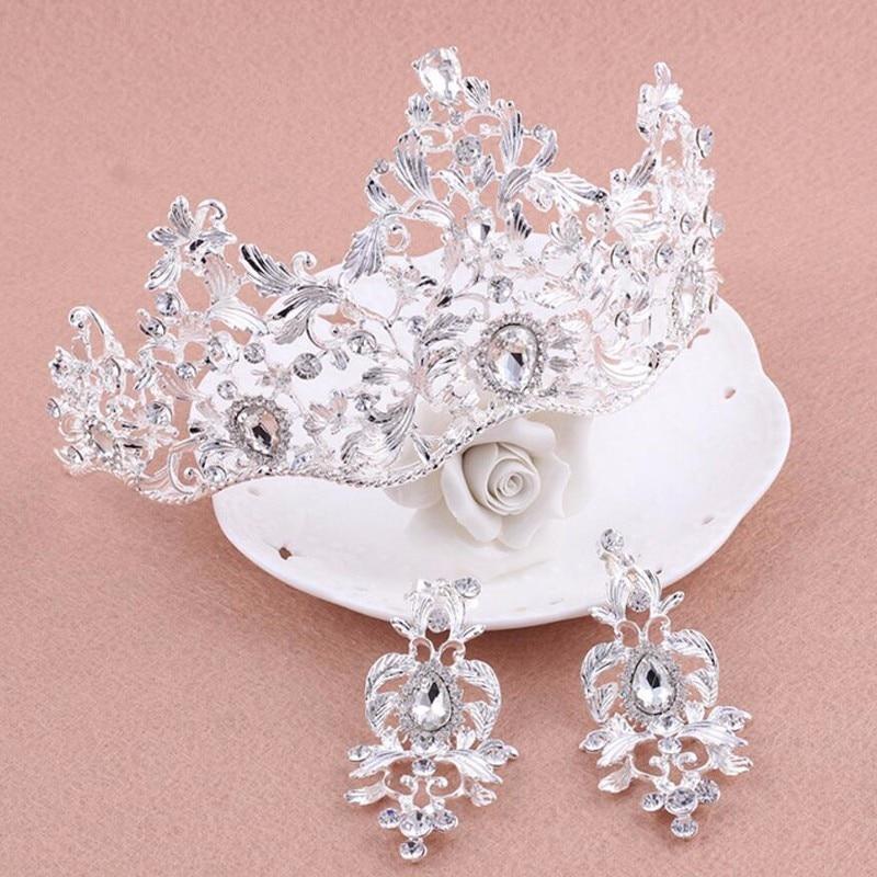1 Satz Große Luxus Vintage Elegante Klar Kristall Strass Crown Tiara Hochzeit Prom Braut Stirnband Braut Brautjungfer Haar Schmuck