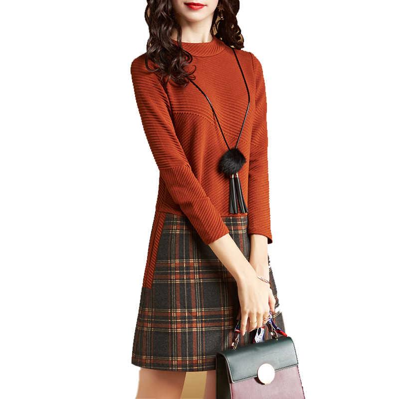 Весна Осень женское платье 2018 новая мода высокое качество с длинным рукавом тонкие сексуальные женские платья плед вязаный офис леди Vestidos 1003