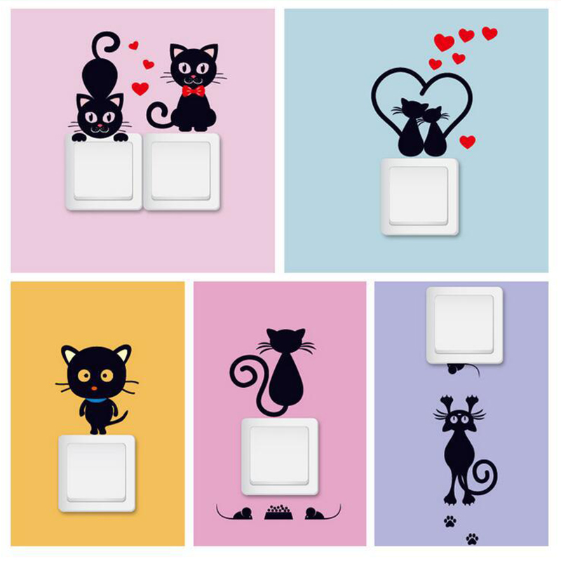 Cat Switch Panel Sticker Beautify Home Decor Creative Electrical Fashion Decorative Wall Refrigerator Stickers 5 Style