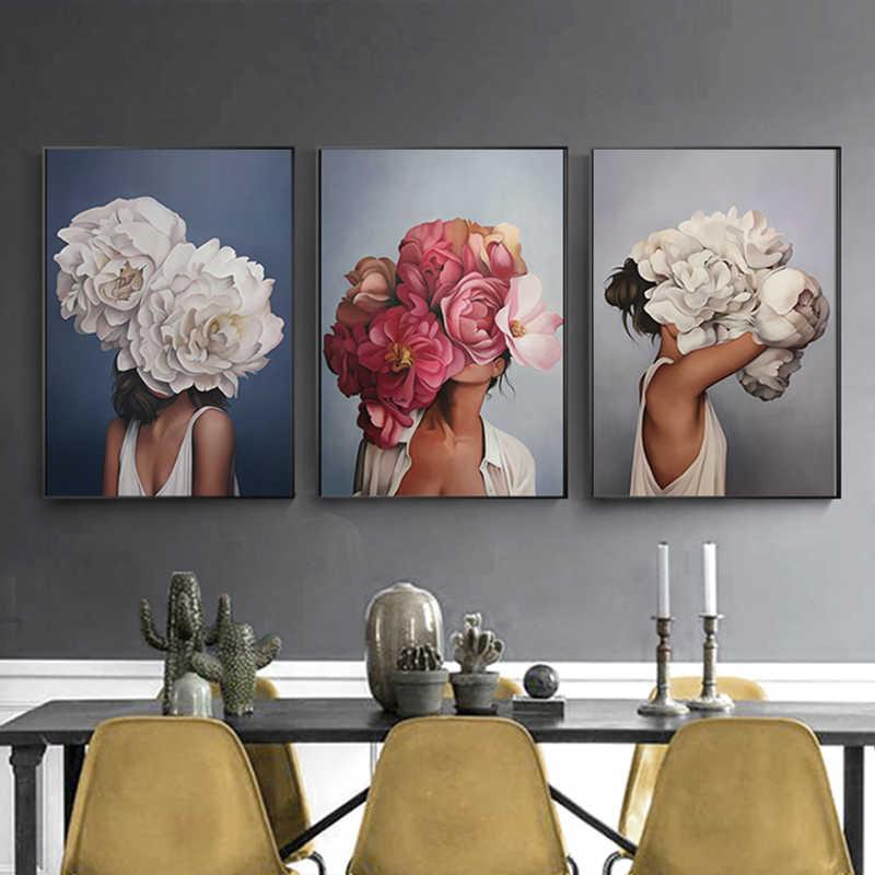 נורדי יופי פרח ילדה הדפסת ציור שמן על בד מודרני פוסטר ולהדפיס עבור סלון חדר שינה בית תפאורה קיר אמנות