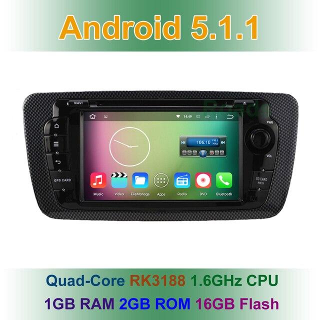 Quad Core 1024*600 Android 5.1.1 Dvd-плеер Автомобиля для Seat Ibiza 2013 2012 2011 2010 2009 с GPS BT Wifi радио