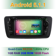 Quad Core 1024*600 Android 5.1.1 Coche DVD Reproductor de Video para Asiento Ibiza 2013 2012 2011 2010 2009 con GPS BT De Radio Wifi