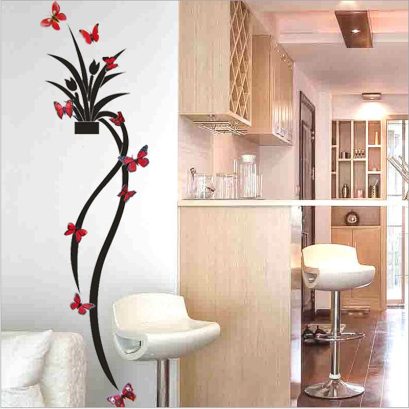 New Flower Basket 3D Three-dimensional Wall Stickers TV Background Wall Entranceway Home Decoration Kids Room Applique