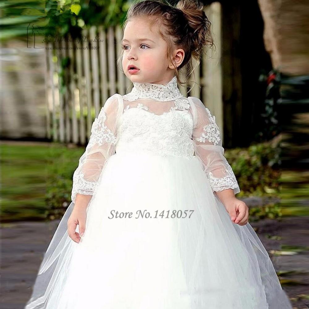 66f55f5d15cdc Vestido de Daminha White Lace Baby Flower Girl Dresses for Weddings Long  Sleeve Kids Evening Gowns High Neck Prom Dress Children-in Flower Girl ...