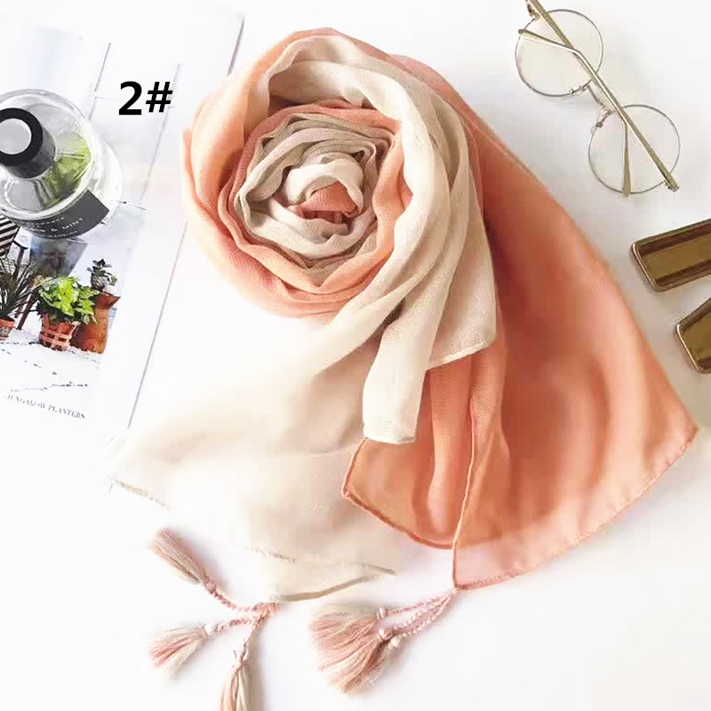 High Quality plain color tassels cotton viscose scarf shawl women Muslim hijab foulard silk bandana pashmina echarpe 10/lot