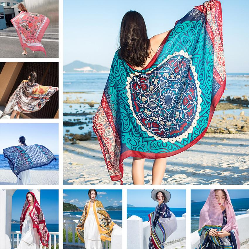 Thicken 90x180cm Bikini Bathing Swimwear Cover Up Sarong Wrap Scarf Twill Cotton Pareo Beach Cover-Ups Women Large Beach Dress