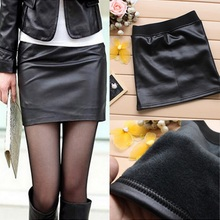 2019 Winter Women Pu Leather Skirts Trendy Office Ladies Black Faux Leather Shor