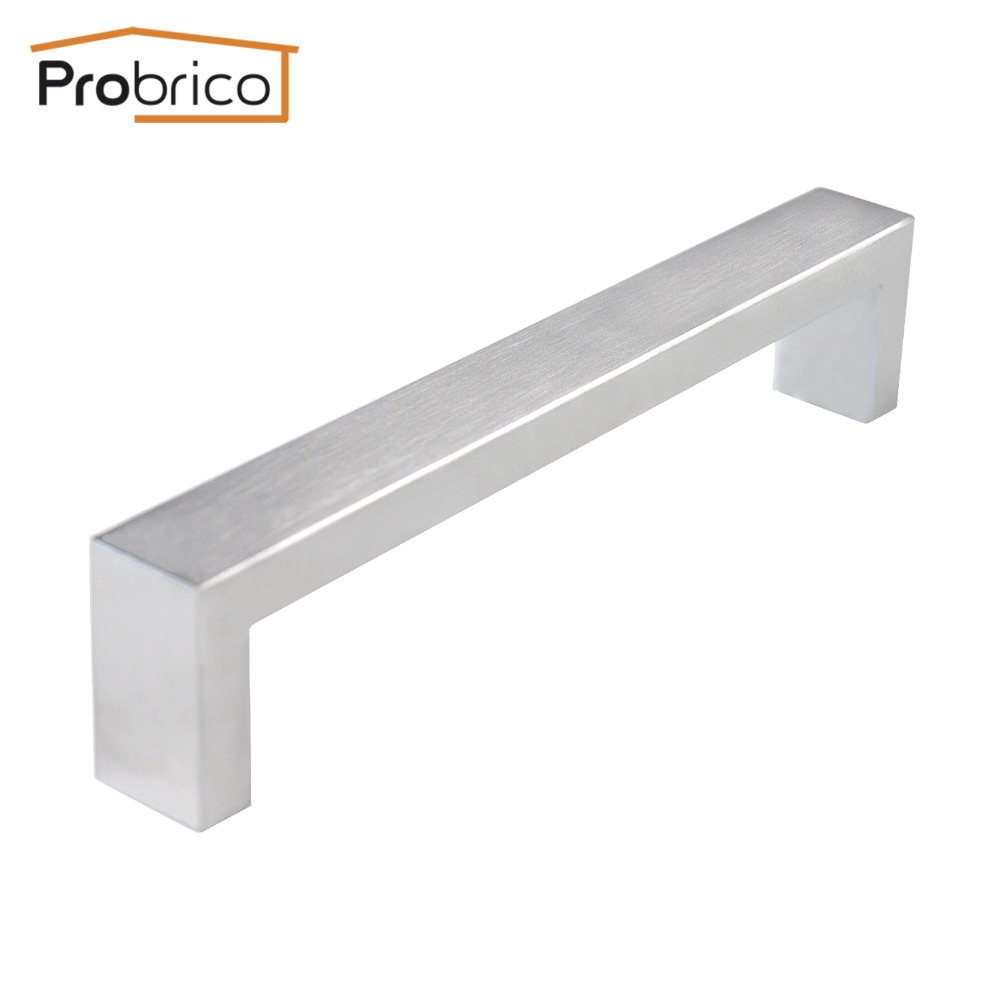 Probrico 10mm*20mm Square Bar Handle Stainless Steel Hole Spacing 160mm Cabinet Door Knob Furniture Drawer Pull PDDJ30HSS160 2pcs set stainless steel 90 degree self closing cabinet closet door hinges home roomfurniture hardware accessories supply