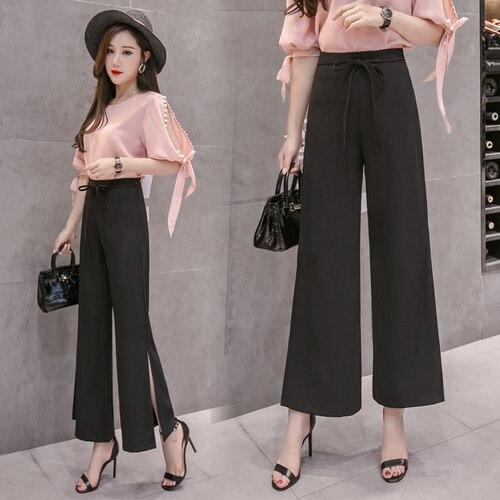 2018 el desgaste del otoño, pantalones de pierna ancha, mujer versión coreana suelta nueve puntos Split Fork ocio Haren Pantalones, tubo recto Tu