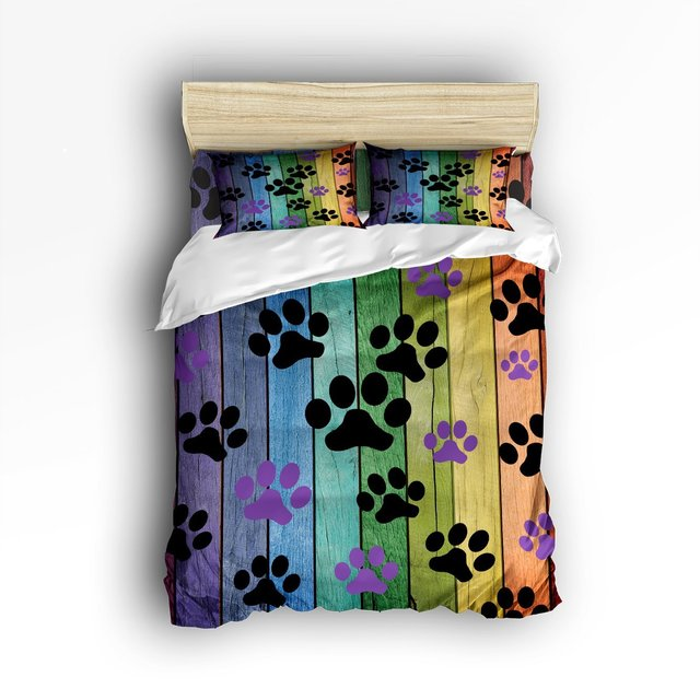 superb Paw Print Comforter Set Part - 6: CHARMHOME Dog Paw Prints Rustic Old Barn Wood Bedding Sets 4pcs Duvet Cover  Bed Sheet Pillowcases