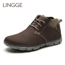 Купить с кэшбэком LINNGE brand shoes light weight men boots genuine leather ankle boots casual lace-up big size men shoes handmade boot