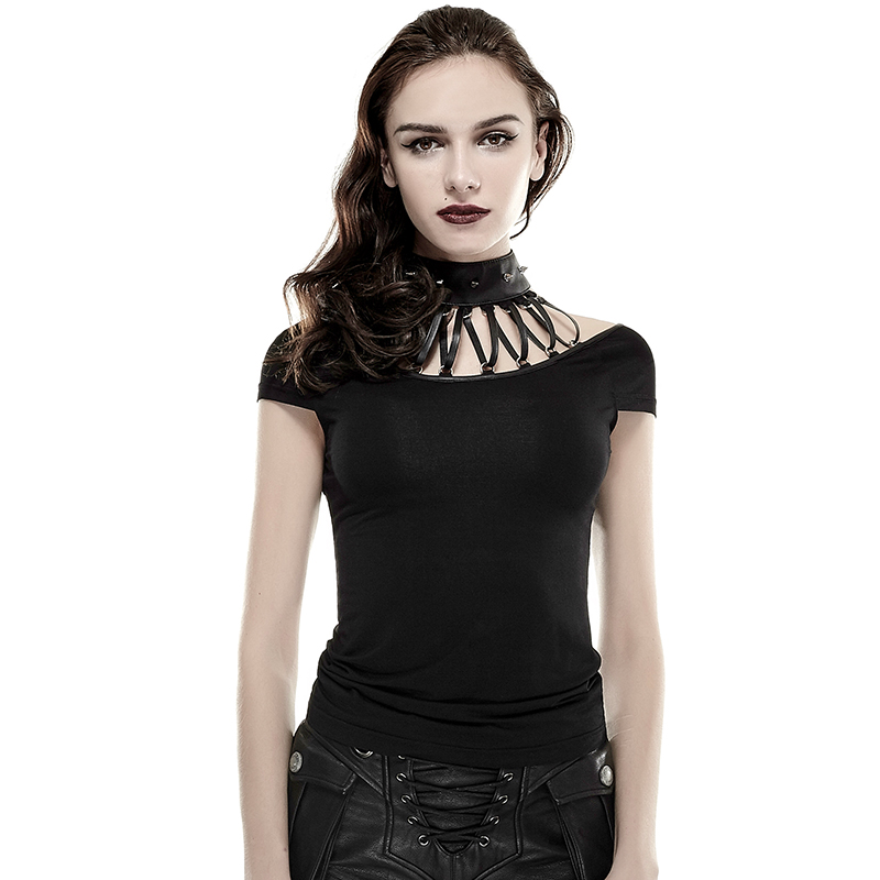 Rock Sexy Women Sleeveless T Shirt With Rivet Studded Leather Hanging Neck Collar Black Metal Bandage Strap Gothic Shirts