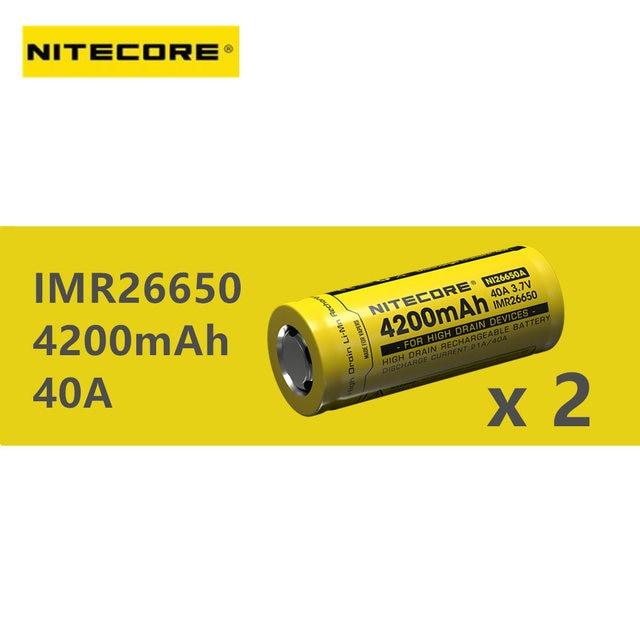 2 sztuk obsługi NITECORE IMR 26650 bateria 4200mAh 40A o dużej pojemności urządzenia za pomocą baterii wielokrotnego ładowania