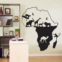 Afryki Afryka Zwierzęta Żyrafa Safari Słoń Mural Kalkomania Ścienna Naklejki Ścienne Zwierząt Mapa Naklejki Ścienne Sypialnia Urządzanie wnętrz