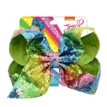 JOJO Siwa Girls Bows  Large Signature Rainbow Sequin Dance Cheerleader Hair Bow Accessories for Toddlers Kids Teens