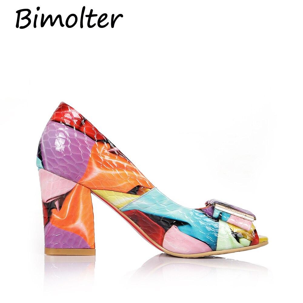 Ouvert Femme Parti Leath Bimolter Hauts Danse Lcsa007 Colorful Pompes Véritable Mode Bout Bureau Talons Femmes Dames De Chaussures qMUVzSpGL