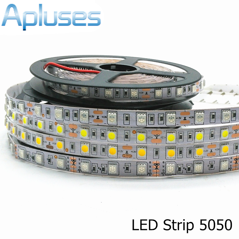 5050 LED-stripe 12V Fleksibel dekorasjonsbelysning 300LED ikke-vanntett LED-tape RGB / hvit / varm hvit / blå / grønn / rød 5 m / masse