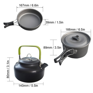 Image 3 - 3Pcs Camping cookware Outdoor cookware set camping tableware cooking set travel tableware Cutlery Utensils hiking picnic set
