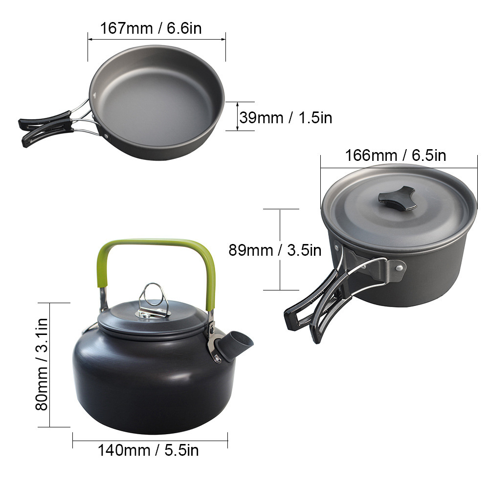 Image 5 - 3Pcs/Set Outdoor Camping Takebleware Portable Hiking Picnic Teapot Pot Set Cookware Mess Kit Cookware Set-in Outdoor Tablewares from Sports & Entertainment
