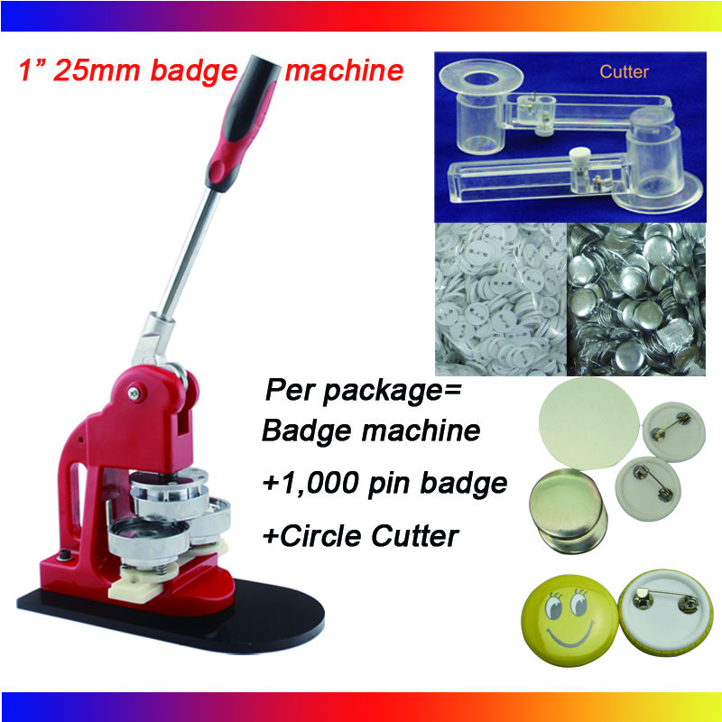 Wholesale 2016 Free Shipping 1(25mm) Badge Button Machine + Adjust Circle Cutter+1,000 Plastic Pin Badge Material free shipping new pro 1 1 4 32mm badge button maker machine adjustable circle cutter 500 sets pinback button supplies